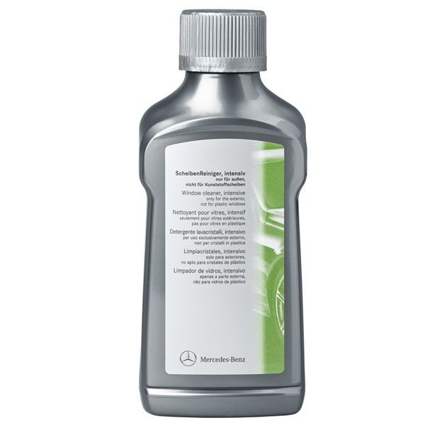 A0009864071  Active Exterior Glass Cleaner 250 ml  This product is specially designed for cleaning windows of your Mercedes-Benz (careful not to apply the product on plexiglass, rubber and painted surfaces). It is ideal for removing silicone projections, diesel particles, dead insects and bird droppings