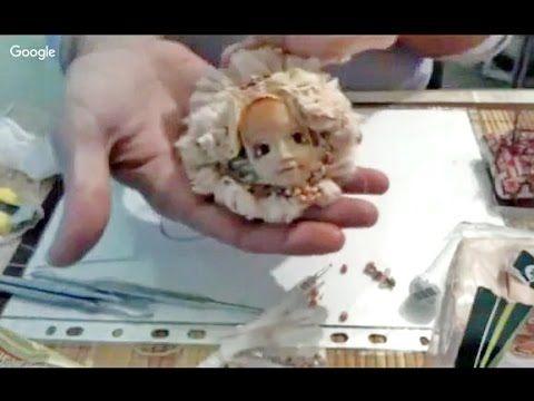 Бохо брошь из ткани с декором из полимерной глины  ✿ Николай Павлов лепк...