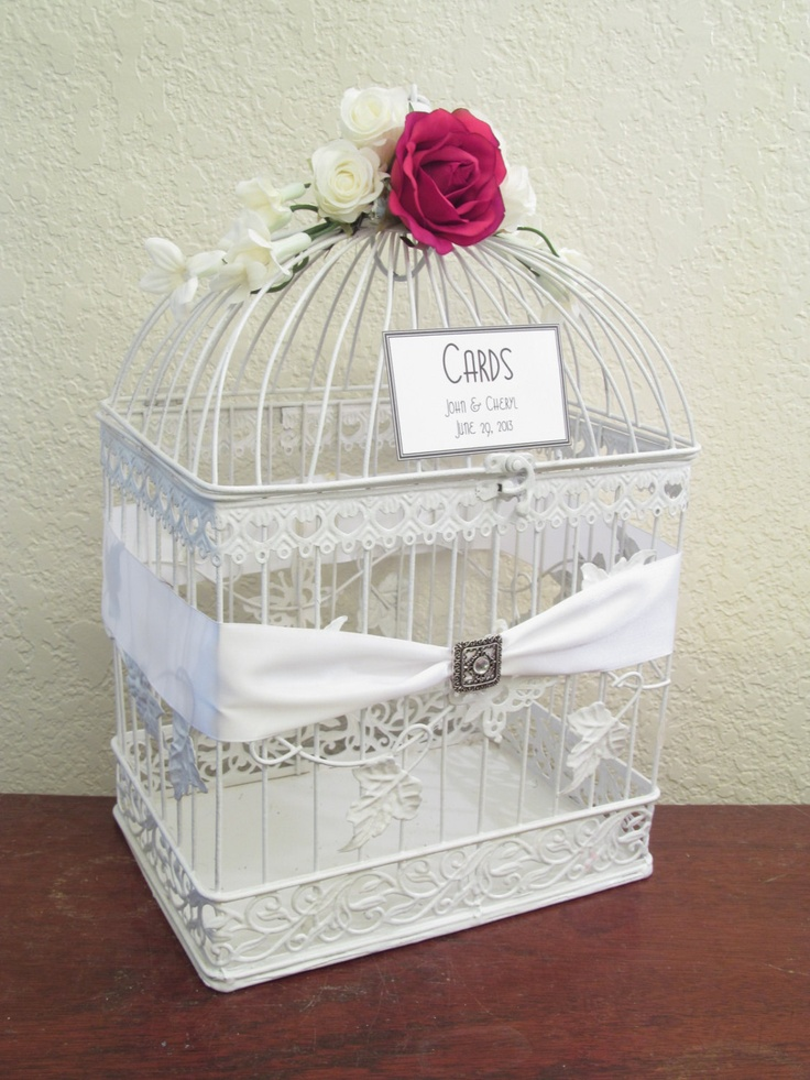 Wedding Card Box / Rhinestone Brooch / White / Bird Cage Card Holder with Red Roses. $65.00, via Etsy.