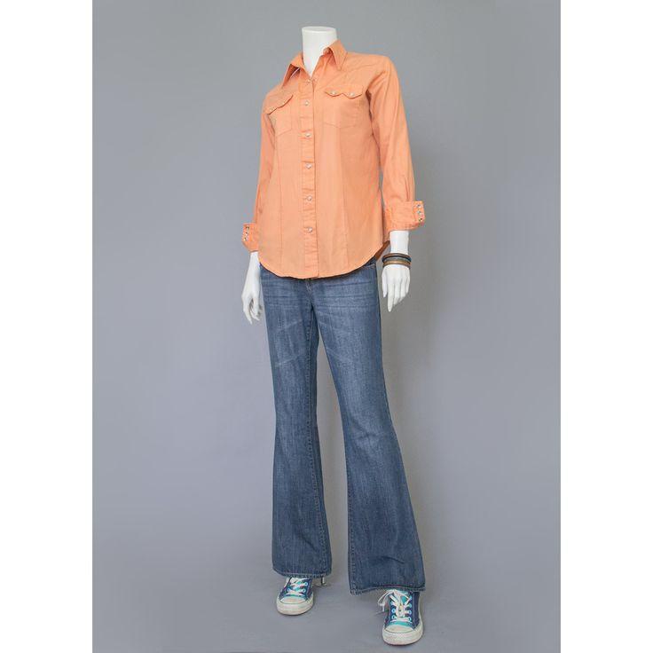 Western Shirt - 70s Shirt - Cowboy Shirt - Orange Shirt - Pearl Snap Button Shirt - Cowgirl Shirt - Peach Shirt - Cotton Shirt - 1970s Shirt #vintage #etsy #shirts #indie #hipster #1970s #clothing #fashion #style #chic #wear #southwestern #western #mens #womens #unisex