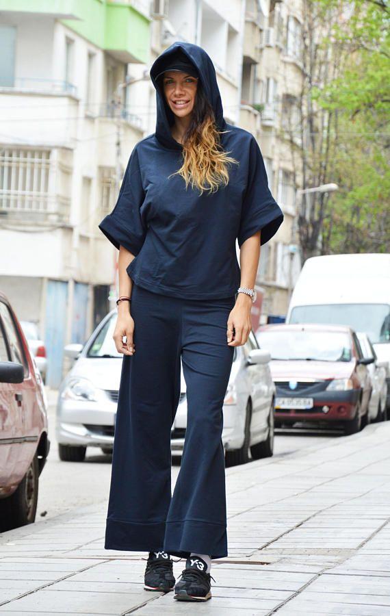 Womens Blue Set Plus Size Sport Top Drop Crotch Pants Open