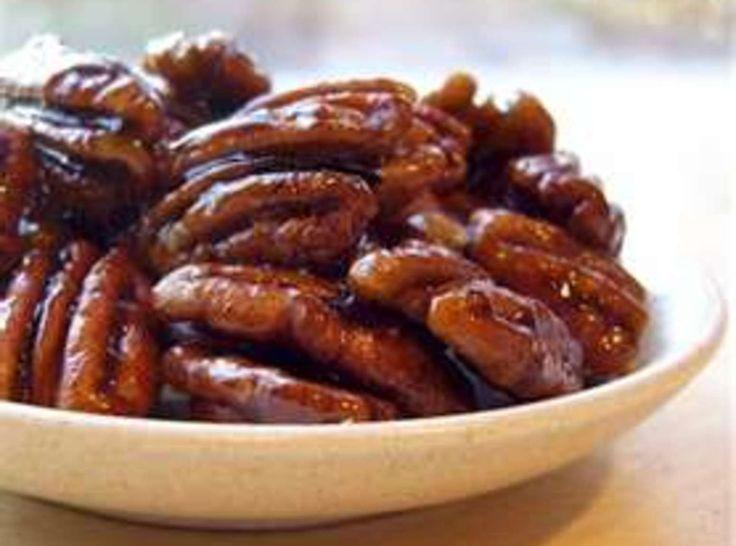 Glazed Pecans, 2 csugar  3/4 cmilk  1 dash(es)salt  1 Tbspbutter  get recipes @ goboldwithbutter.com  1 tspvanilla  4 cpecan halves  Try Diamond of California Nuts