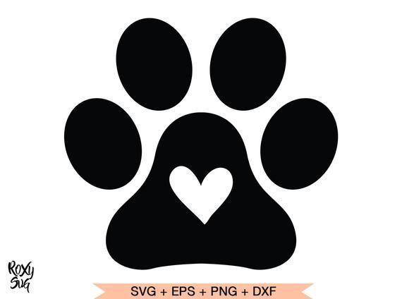 Paw Print Svg Paw Print With Heart Svg Dog Paw Svg File Etsy Paw Print Paw Stencil Cat Paw Print