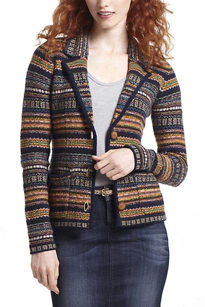 at first glance, a lovely blazer. But it's weird half-inside-out fair isle :(: Light Pink Blazers, Fairisl Inspiration, Anthropology Fairisl, Blazers Anthropology, Fall Sweaters, Sweaters Cardigans, Fair Isle, Blazers Sweaters, Fairisl Blazers