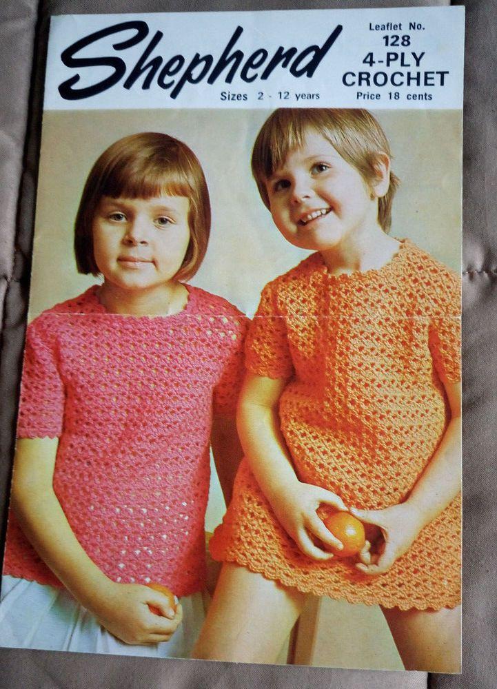 Crochet Girl's Dress & Top Shepherd 128 vintage pattern 4 ply yarn 2- 12 years #Shepherd