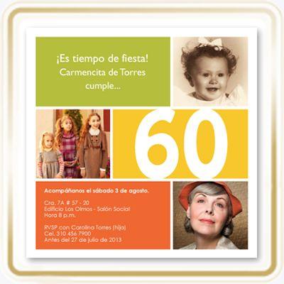 Tarjetas de Cumpleaños - Recuerdos · Invitación para: Cumpleaños de mujeres que celebren sus 40 - 50 - 60 - 70 - 80 - 90 años. · Diseñada por: LunazulPrints. · Tamaño de la Invitación: 15 cms x 15 cms cuadrada. · Papel: Star Dreams Cristal de 240 grms importado. · Impresión: Digital, full color a una sola cara.