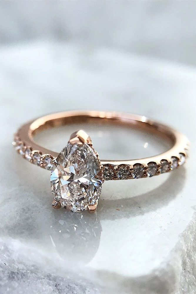 33 TOP Engagement Ring Ideas ❤️ top engagement ring ideas pear cut pave band rose gold ❤️ See more: http://www.weddingforward.com/top-engagement-ring-ideas/ #weddingforward #wedding #bride #engagementrings