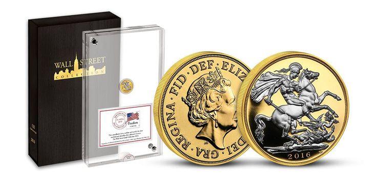 Prestižní britská mince Sovereign 2016 rážená do zlata vysoké ryzosti. Motiv Sv. Jiřího na koni zvýrazněný platinovým plátováním