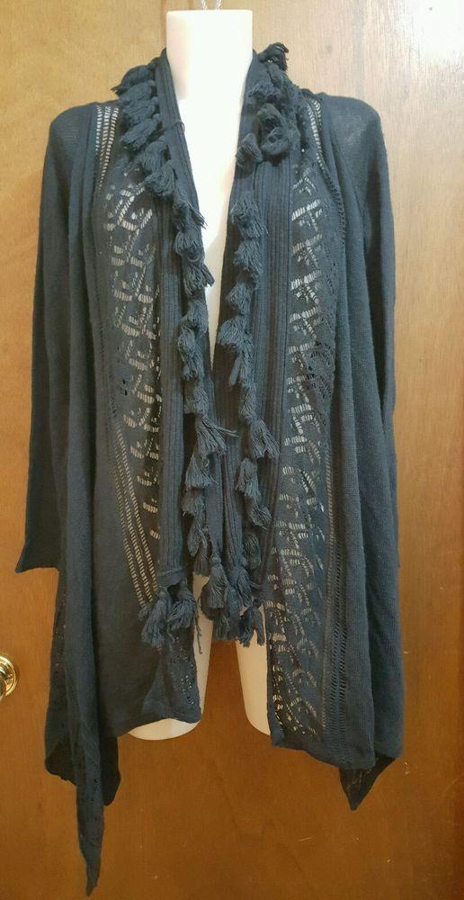 Soft Surroundings sz S navy blue cardigan long asymetrical open front tassels  #SoftSurroundings #Cardigan