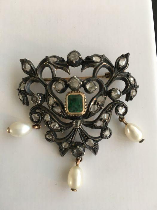 Online veilinghuis Catawiki: Broche -- goud, zilver, diamanten, smaragden en parels