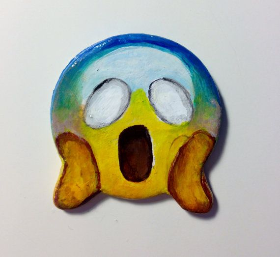 Shocked Emoji Clay Pin Brooch by rorolimo on Etsy