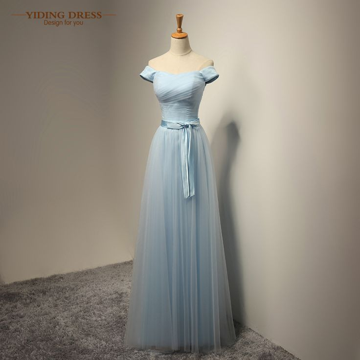 Cap Sleeve Long Bridesmaid Dresses Sky Blue Tulle Wedding Party Dress Plus Size 2017 New Arrive