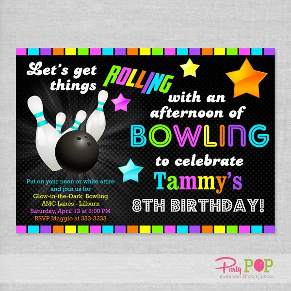 9 best Bowling party ideas for peanut and brsndon images on - bowling invitation
