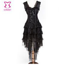 Prom Czarny Kwiatowy Koronki Odzież Victorian Gothic Steampunk Gorset Sukienka Długie Suknie Sexy Burlesque Gorsety I Gorsety Kostium(China (Mainland))