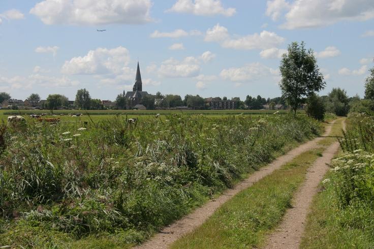 De Driehoek, grens Mijdrecht - Wilnis met op de achtergrond R.K. Parochie St. Jan de Doper, Vecht en Venen