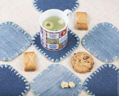 Jeans coasters / Кухня ручной работы. Ярмарка Мастеров - ручная работа. Купить Подставки под чашки. Handmade. Текстиль для дома, хиппи стиль