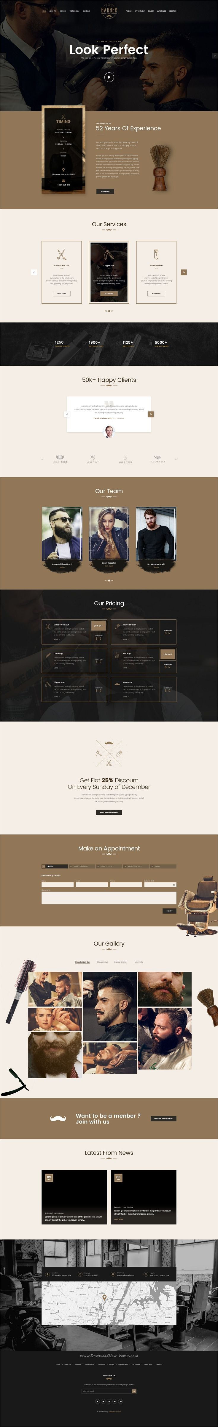 Unique is clean, elegant and modern design PSD #template for #barbershop and #salon website download now > https://themeforest.net/item/unique-barber-shop-landing-page-psd/19909889?ref=Datasata