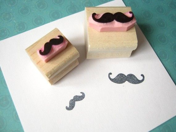 Pair of Mini Moustaches - Hand Carved Rubber Stamps - Inspiration