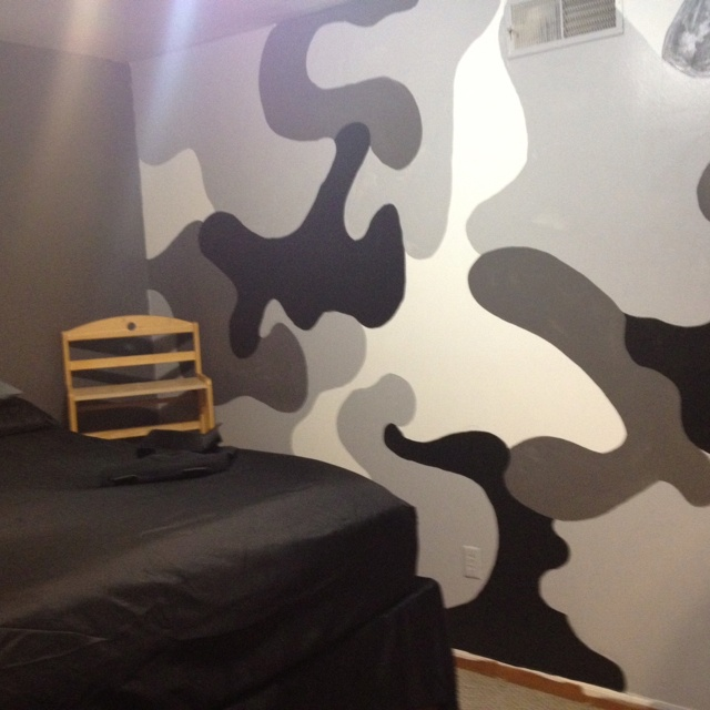 Camo wall SAM painted for Logan's room