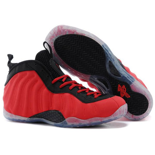 """Cheap Nike Sneakers """"Red Suede"""" Air Foamposite One in Red and Black ($136) ❤ liked on Polyvore featuring shoes, sneakers, red suede sneakers, nike trainers, red and black sneakers, suede leather shoes and nike"""