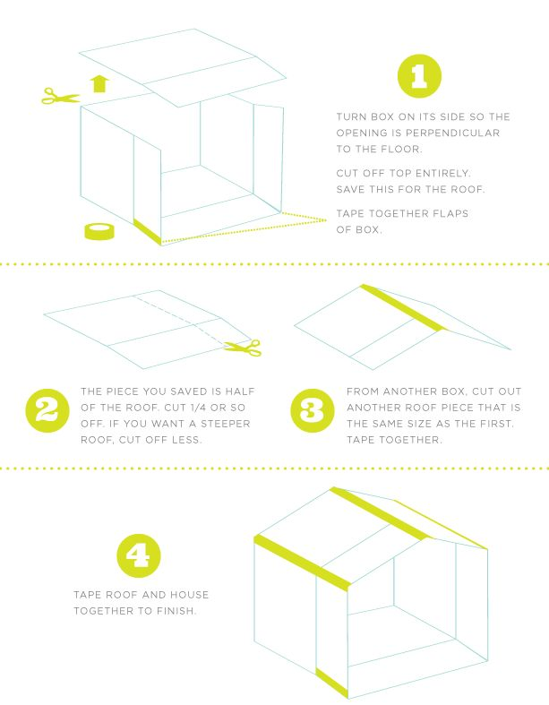carboard box-house-instructions  remember to use colorful duct tape to decorate :)