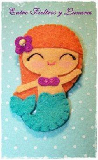 """http://www.artesanum.com/producto1.php?accion=datos&producto=406845 Broche de """"sirenita""""  Totalmente cosido a mano  Ideal para nuestras princesas!!!"""