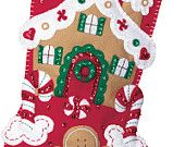 "GINGERBREAD HOUSE 18"" Novelty Felt Appliqued Christmas Stocking."