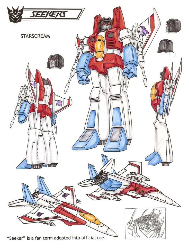 Starscream : Seeks to replace Megatron as leader. Ruthless, cold-blooded, cruel... considers himself the most sophisticated and handsome of Decepticons. Believes Decepticons should rely more on guile and speed rather than brute force to defeat Autobots. Fastest flyer of group, can reach Mach 2.8 and an altitude of 52 miles. Shoots cluster bombs and null-rays which disrupts the flow of electricity. Very good at what he does, but sometimes overrates himself. This photo was uploaded by…