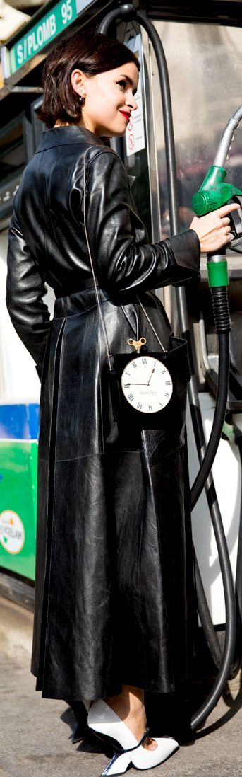 Long black leather coat always makes a high octane statement