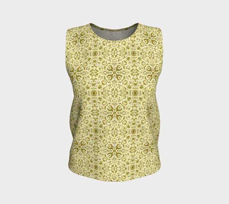 Yellow Pioneer Chic Lacy Damask Pattern Loose Tank Top