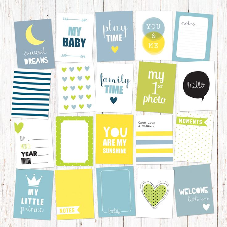 """Scrapbook and journal cards for newborn baby boys. 20 cute cards for instant download. Size 3x4"""". Vol 2. by GraphicCorner on Etsy"""