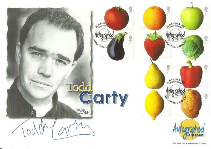 Fun Fruit and Veg. 2003 FDc signed by Todd Carty