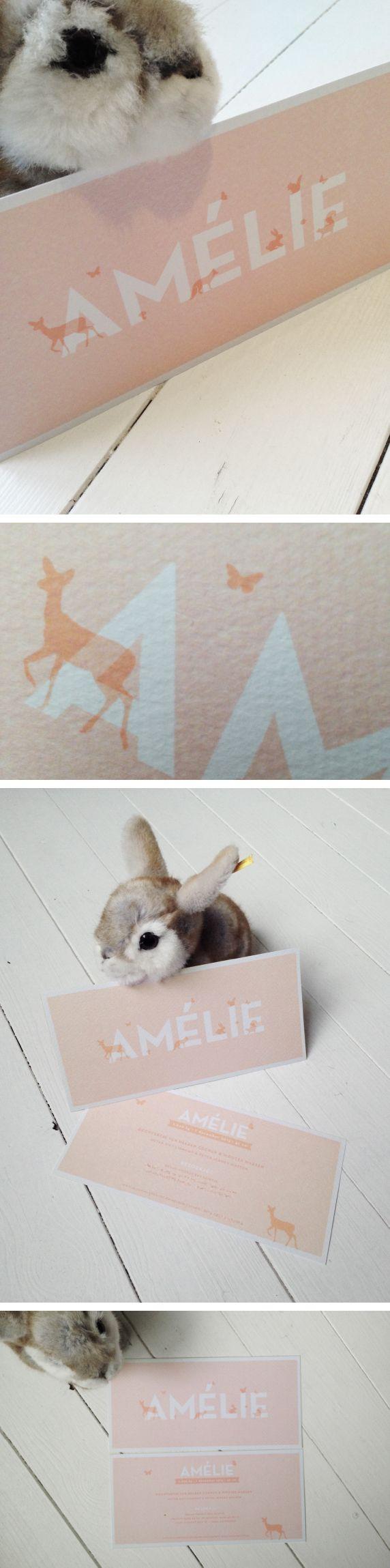 Geboortekaartje Amérie Roos, bos diertjes, forest animals, konijn, hert, paddenstoel.