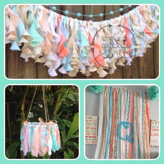 Mint Coral Aqua Rag Curtain Ribbon Garland Lace By ChangesByNeci