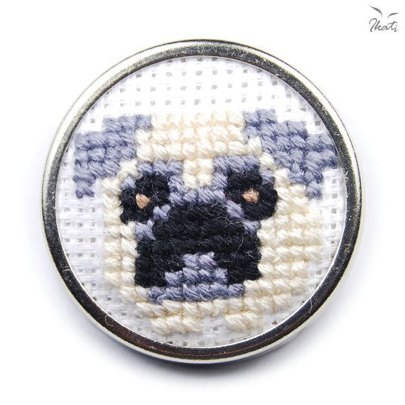 Cross Stitch Brooch with PUG  Embroidery  by IkatiWorks on Etsy, $35.00
