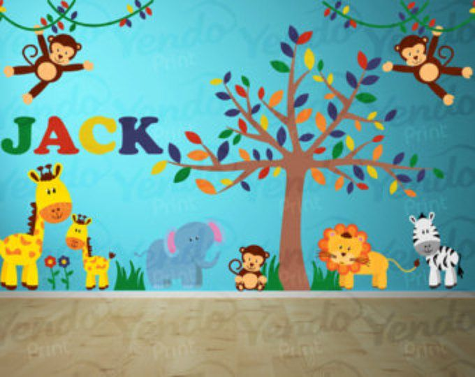 Wall Decal - Jungle Decal - Jungle Wall Decal Personalized - Jungle Animal Decals - Safari Decal Set