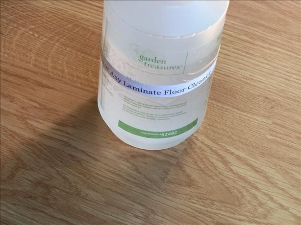 LAMINATE FLOOR CLEANER, ALL-PURPOSE CLEANER AND WINDOW CLEANER 1/3 cup water, 1/3 cup rubbing alcohol, 1/3 cup white vinegar, 3 drops dishwashing soap, 5-10 drops lemon essential oils (opt.).  Mix all in spray bottle, spray sparingly on floors and mop up.