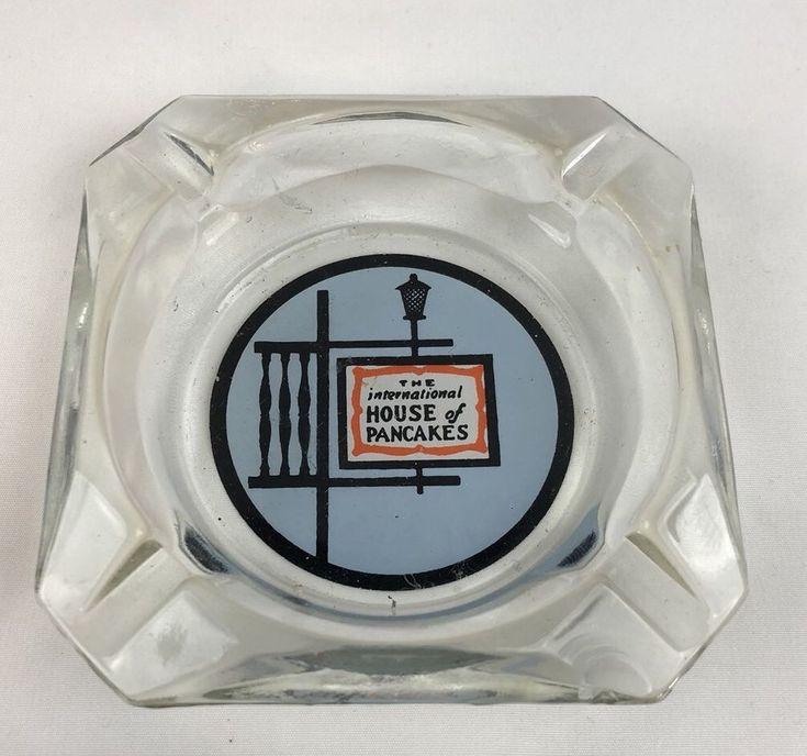 Vintage IHOP The International House of Pancakes Glass Advertising Ashtray #IHOP