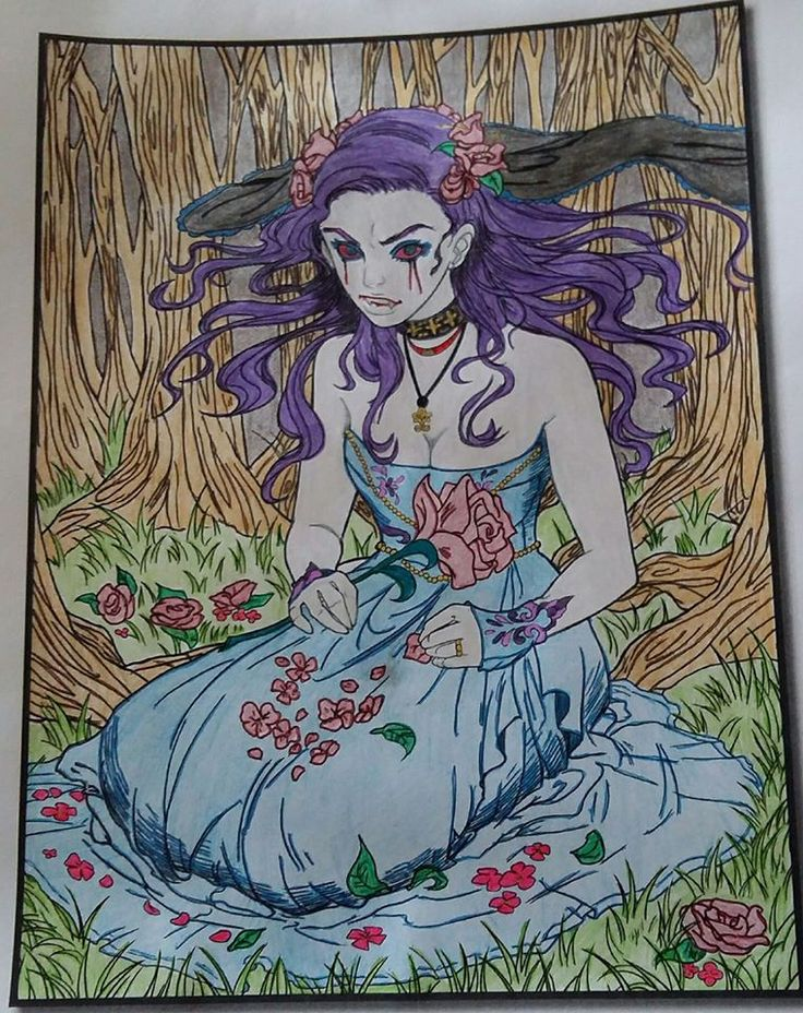 Vampires by Jade Summer | Colored by Carol Meikle | Print Version: https://www.amazon.com/Jade-Summer/e/B01HU2WU26 | Digital Version: https://www.etsy.com/shop/jadesummercoloring