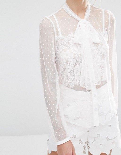 sister jane | Прозрачная блузка из тюля с завязками на горловине SisterJane