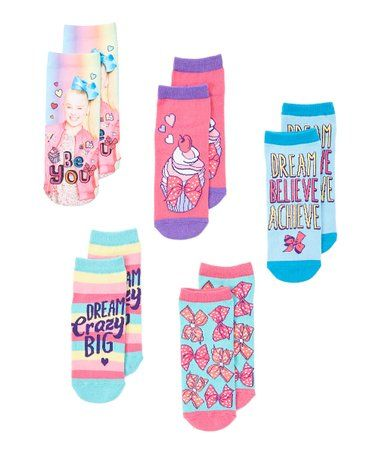 53630d70a JoJo Siwa Blue   Pink Five-Pair Socks Set - Kids  zulily  zulilyfinds