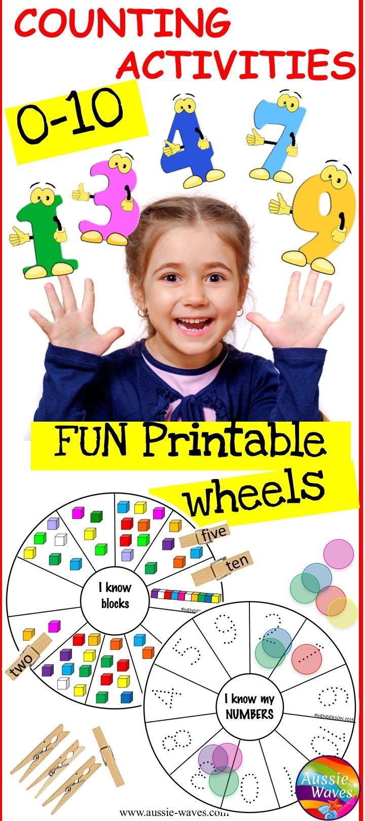Fun, printable COUNTING ACTIVITIES for Preschool and Kinder kids. Teaching counting numbers 0-10