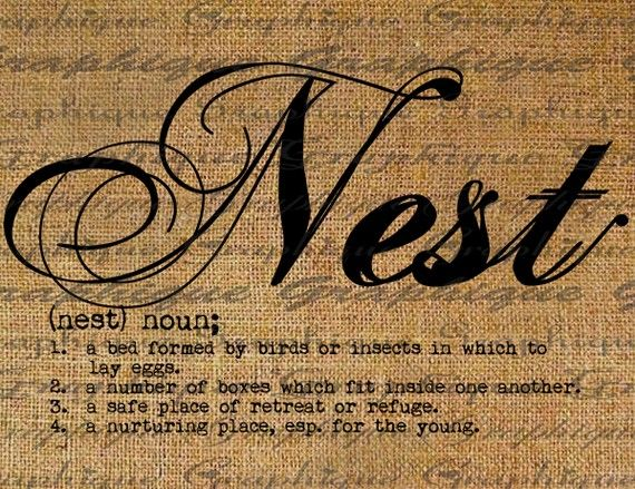 Definition NEST Text Typography Words Digital Image Download Sheet Transfer To Pillows Totes Tea ...