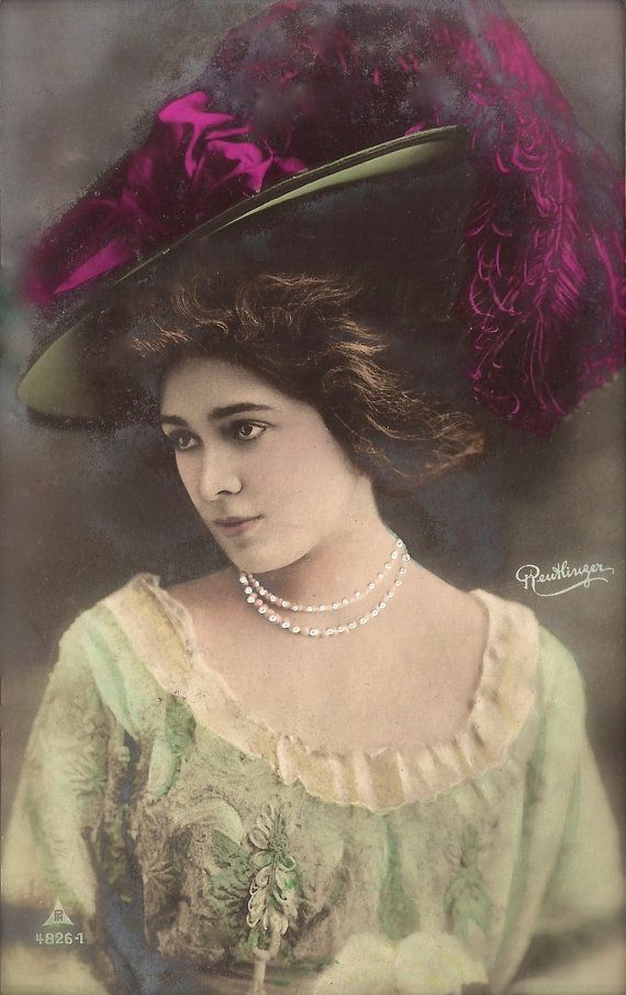 Edwardian Glamour Fashion Lady Romantic Elegance Parisian Chic Feathers Hat Original 1900s Reutlinger German Rare Hand Tinted Photo Postcard