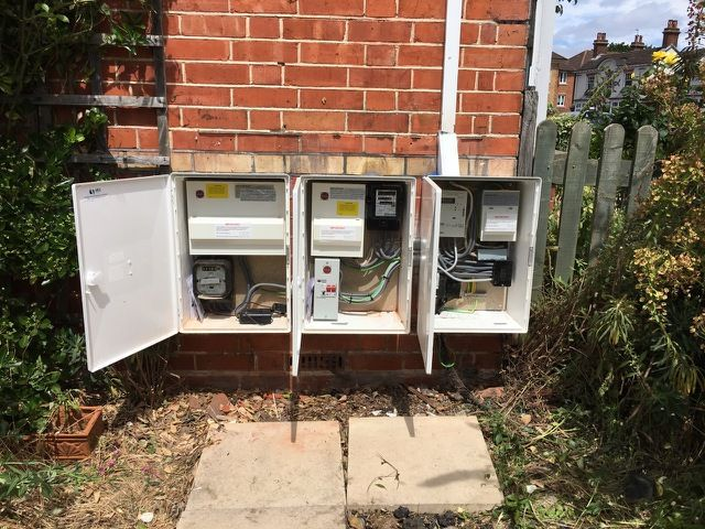 From a scary nest of wires to safe and up to the minute consumer units, supply tails and new earthing, all in new meter cupboards. The way it's meant to be done!