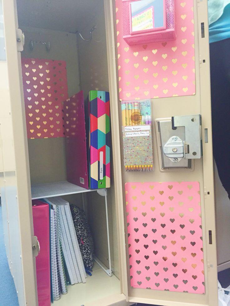 Locker idea!   Wallpaper-Target Locker Shelf-Target Mesh bin-Target Extra pencils case-Diy