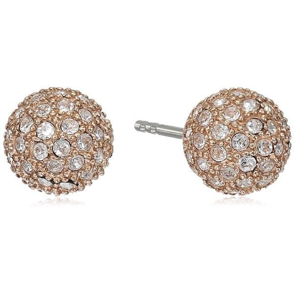 Fossil Pave Ball Stud Earrings ($24) ❤ liked on Polyvore featuring jewelry, earrings, fossil earrings, pave ball earrings, ball jewelry, stud earrings and pave jewelry