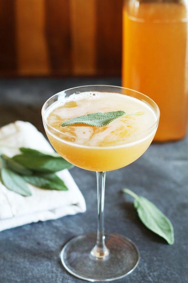 Peach Shrub & Apple Cider Mocktail - Peach Shrub (Recipe), Apple Cider, Sage Leaves, Nutmeg.