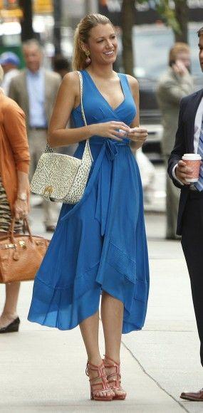 Serena's blue midi/dipped hem dress on Gossip Girl season 6.  Outfit Details: http://wornontv.net/5372/
