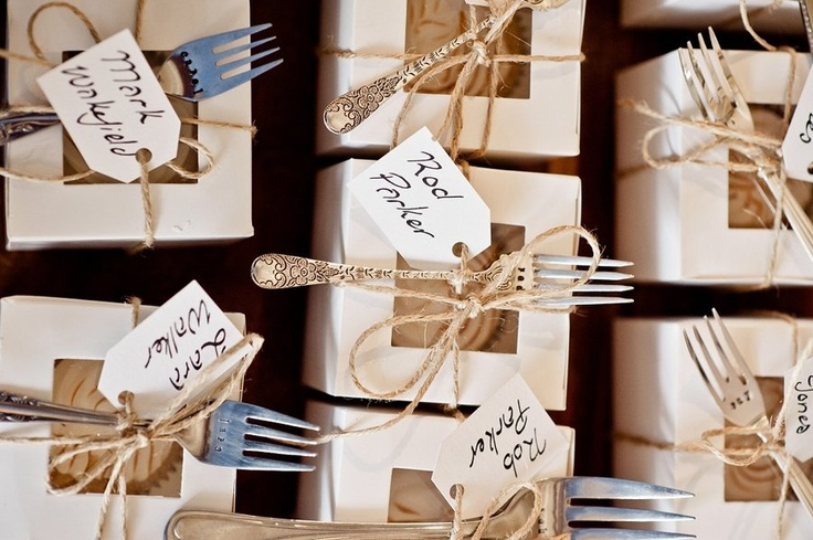 The bride hand-stamped their guests names on each vintage/antique fork attached to the cupcake favor! Photography by http://objektiv.com.au